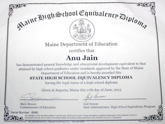 Ged diploma certificate
