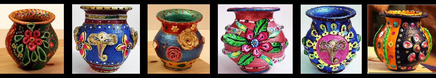 Some samples of Terracotta Pot Painting done by me